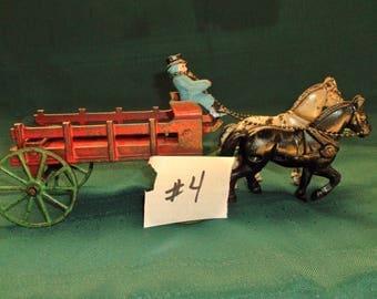 1930's Stake Wagon Cast Iron Horse Drawn Toy
