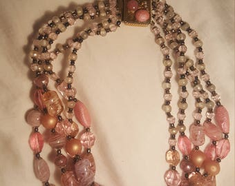 Vintage numerous pink stones and glass necklace