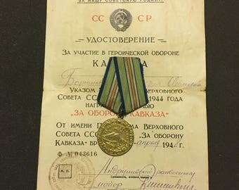Original Russian Soviet WWII Campaign Medal For Defense of Caucasus