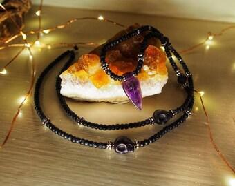 Black Bone Necklace with Polished Amethyst Spear