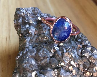 Copper and kyanite crystal ring