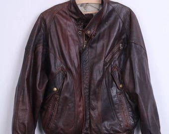 Vintage Mens S Bomber Jacket Leather Brown Italy Vera Pelle