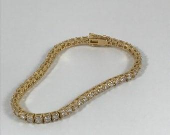 Gold Vermeil Cubic Zirconia Tennis Bracelet