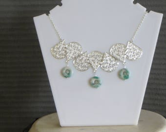 filigree and green stone necklace