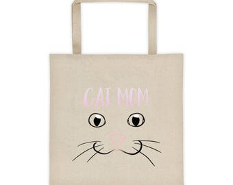 Cat Mom Tote bag, Millennial Pink Cat Nose, Crazy Cat   Lady, Cat Lover Gift, I Love Cats, Fun Cat Drawing, Kawaii Cats