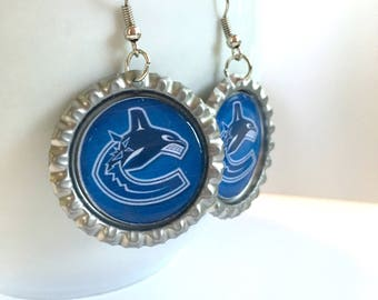 Vancouver CANUCKS Handcrafted Hockey Earrings