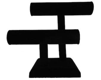 """Black Velvet T Bars Bracelet Display 10 1/2X8 1/4""""H"""