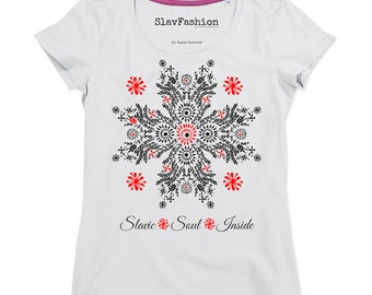 SlavFashion t-shirt Slavic flower of happiness independent slavic fashion. Now ! you can express your Slavic identity and pride.