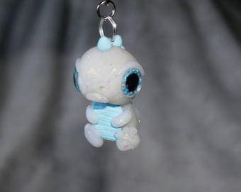 Cute little handmade polymer clay baby dragon keyring with sparkly eyes