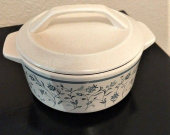 Vintage Blue Breeze By Lenox Temper-Ware Covered Casserole Discontinued 1972-1987