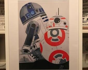 R2D2 & BB8 A3 print