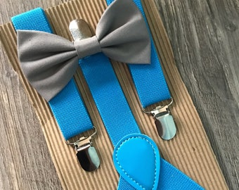 Blue suspenders with Bowtie