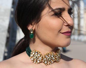 Indian Kundan choker necklace with earrings