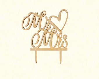 Mr & Mrs Laser Cut Wood Topper
