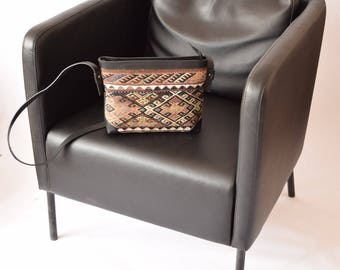 Kilim Bag-012 Front Side Kilim Back Side Leather Handbag Vintage Kilim Rug Bohemian Bag Boho Bag Hippie Bag