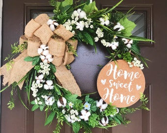 Southern Style Wreath|Cotton Wreath|Front Door Decor| Floral Wreath|Summer Style