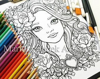 Flower Girl | Mariola Budek - Coloring Page