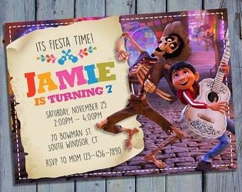 Coco Movie Birthday Invitation, Disney Movie Party Card Invite, Miguel Printable Digital Invitations, Custom Fiesta Printables