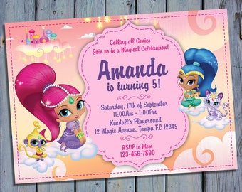 Shimmer and Shine Party Invite, Genie Birthday Card Invitation, Boom Zahramay Printable, Digital Invitations, Custom Printables