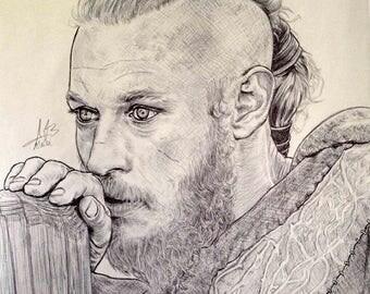 A4 portrait in pen of Ragnar Lothbrok (Vikings)