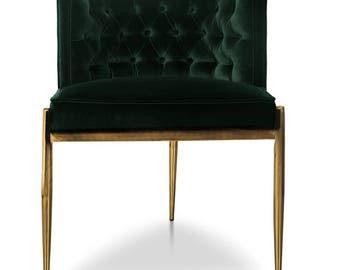 Dining Chair - Brass and Emerald Velvet