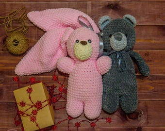 Stuffed toys bears and rabbits made with love