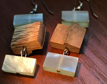 Handmade Boho Bamboo and Glass Dangling Earrings