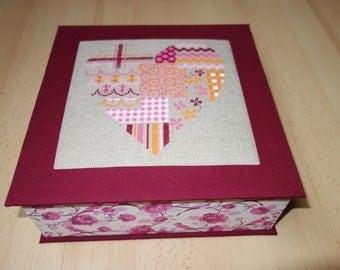cross-stitch heart cardboard box