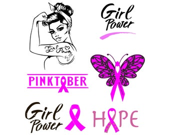 Breast cancer svg, Girl power svg, Rosie svg, Hope svg, Awareness ribbon svg, Pink ribbon svg, svg decal, SVG, Instant Download, svg, dxf