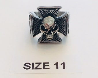 Cross and Skull Stainless Steel Ring