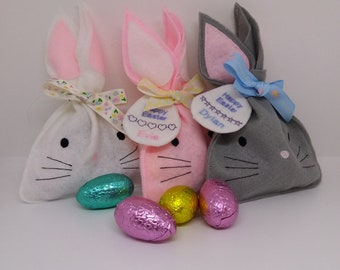Handmade Felt Easter Bunny Treat Bags with a Personalised Gift Tag