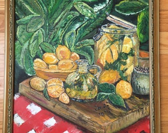 Life gives you lemons original oil painting still life by SC artist