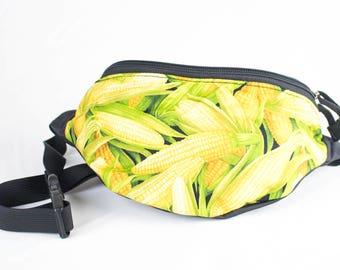 Corn fabric - Cute Fanny Pack - Hip Waist Bag - 2 Zippers