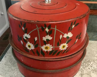 Vintage Red with Flower Pattern Metal Cake and 2 Pie's Saver 1950 Era