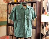 vintage 1970s mens guayabera shirt by Haband, green wedding shirt size large xl