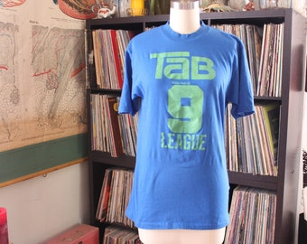 blue vintage 70s 80s Tab cola YMCA basketball t-shirt, mens xs womens small tee