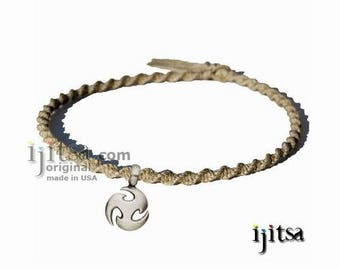 Natural Twisted Hemp Surfer Style Choker Necklace with pewter pendant Triskel