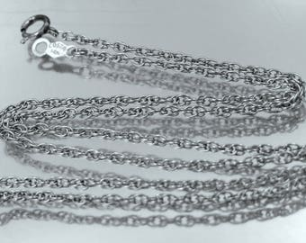 "Thick 14k White Gold 15"" Long Chain"