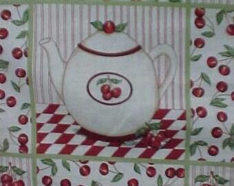 Vintage Estate 100% Cotton Fabric Panel Cherries Teapot Pillow Quilt Block