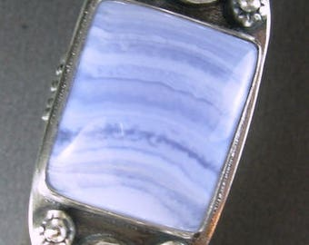 Blue lace agate , freshwater button pearls LARGE etched patina'd sterling silver ring, RECYCLED silver comfort band Chelle' Rawlsky 8+ OOAK