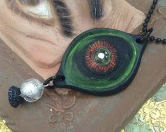 """EYE SEE - Evil Eye Tarot Fortune Teller Crystal Ball Long Chain Necklace  - Stainless Steel 30"""" Chain - Hand Cast Resin Jewelry - Halloween"""