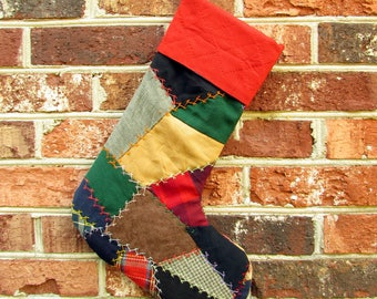 Vintage Patchwork Stocking - Crazy Quilt Stocking - Embroidered Christmas Stocking - Red - Boy Stocking - upcycled stocking