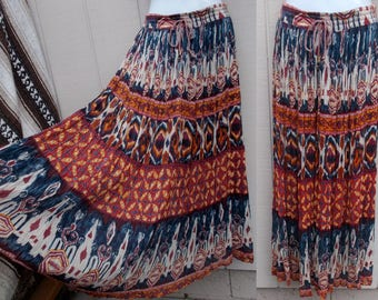 RESERVED Vintage 90s does 70s Broomstick Terra Cotta and Blue India Ethnic Floral Cotton Gauze SKIRT / Free Size // M L XL