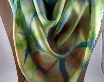 Hand painted Large Silk Scarf #401 FREE SHIPPING