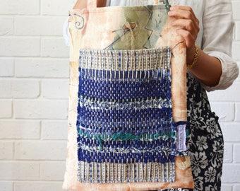 Boho Indigo Blue Green Woven Stripes Shoulder Tote Large Pocket patchwork Fabric Upcycled Bag Wabisabi Australian Spring - September Maximum