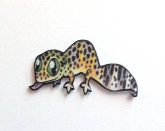 Handcrafted Plastic Leopard Gecko Lapel Pin Brooch