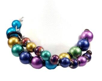 Jeweled Row Counter Bracelet With Mood Beads
