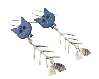 Catfish Earrings, blue or yellow cat fish whimsical earrings, cat lover gift