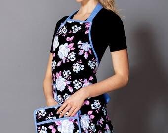 Blue Black Floral Karina Apron