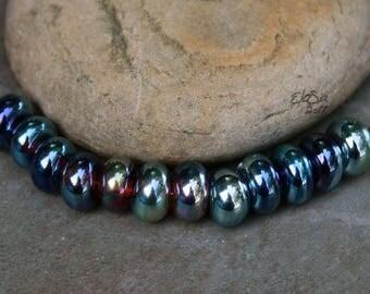 Iris Spacers - Handmade Lampwork Glass Beads, tiny spacer beads - SRA Elasia - MTO